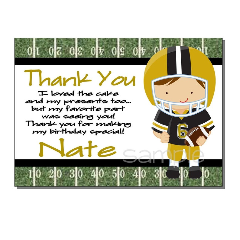 Football Thank You Card Birthday Party Black and Gold  image 0
