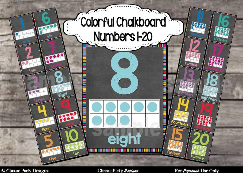 Colorful Chalkboard Number Posters 1-20 with ten frames  image 0