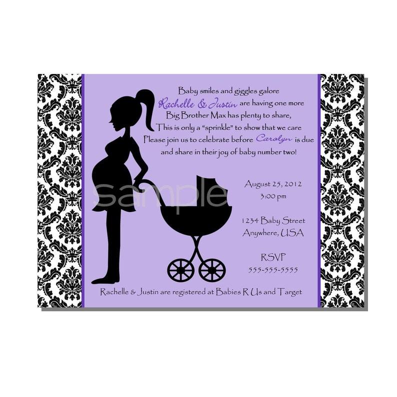 Damask Baby Shower Sprinkle Invitation Purple  DIGITAL or image 0