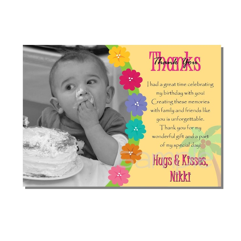 Luau Thank You Card Birthday Party  DIGITAL or PRINT YOURSELF image 0