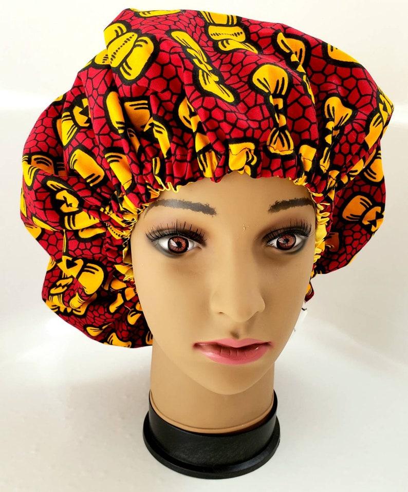 b30a71ac4 Satin Bonnet, African bonnet, Ankara bonnet, Ethnic bonnet, adult bonnet,  hair bonnet, reversible bonnet, red and gold bonnet