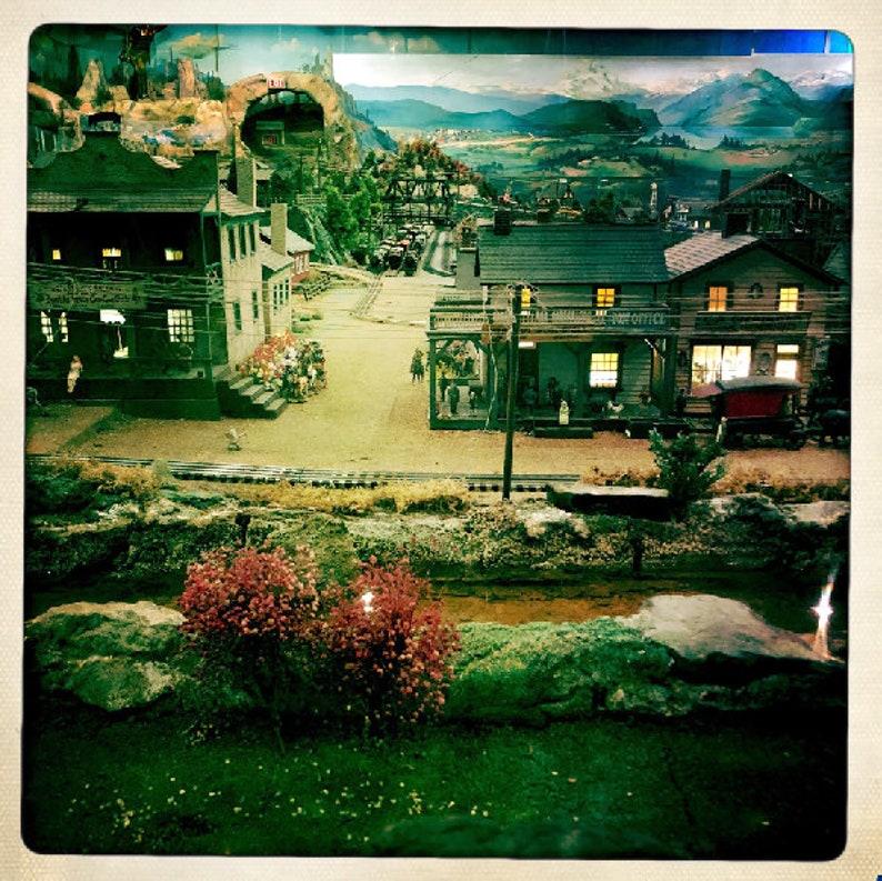 Miniature Railroad Scene Hipstamatic Photo Print Diorama Mini Town Houses  and Railroad Track