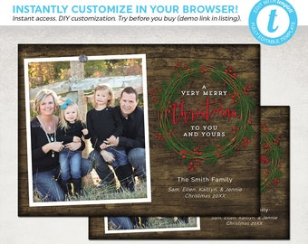 Rustic Christmas Card Template - Wood Wreath Holiday Photo Templett - 4x6 & 5x7 - Instant Download