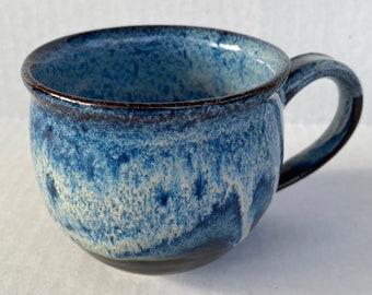 Black , white and deep blue mixed glazed mug