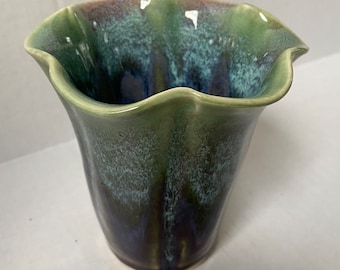 Fluted ceramic vase