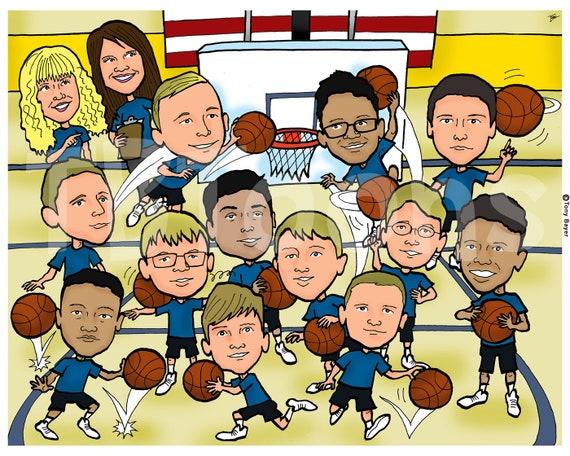 8ppl Custom Caricature Sports Team Cartoon Drawing Etsy