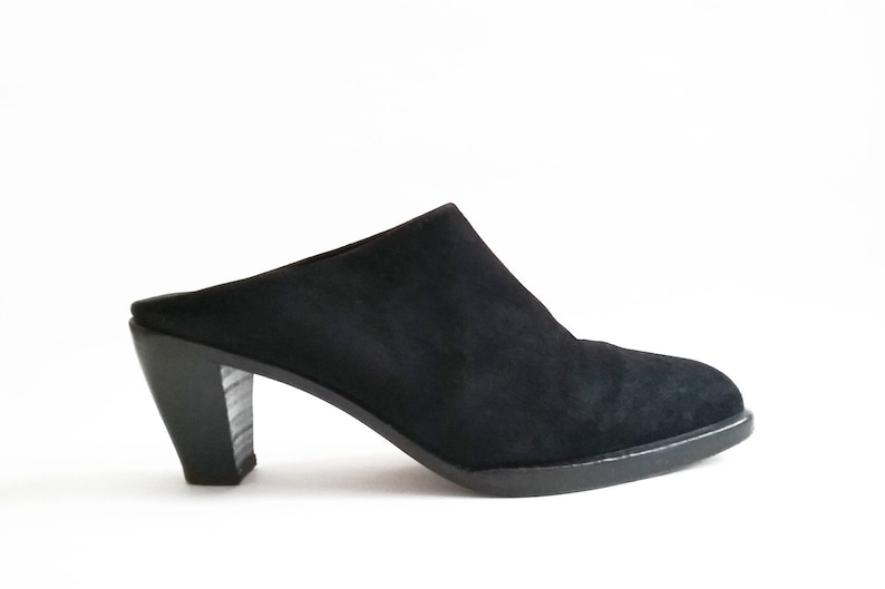 a898eb9a539ff MINIMALIST SUEDE MULES Black Leather Slip On Clog Heels Vintage Joan &  David Clogs 1980s 1990s Vtg 80s 90s Italian Made Italy size 38 / 7.5