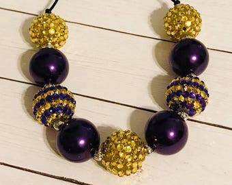 Purple and Gold Chunky Bubblegum Necklace