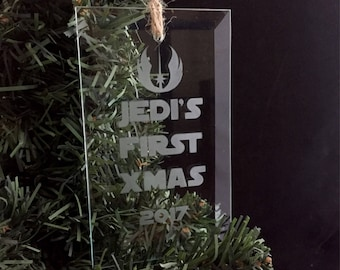 Hand Etched Glass Ornament - Star Wars  inspired (Jedi's First Xmas)