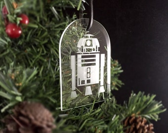 Hand Etched Glass Ornament - (R2D2)
