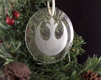Hand Etched Glass Ornament - Star Wars  inspired (Rebel Alliance)
