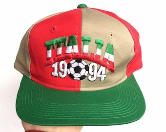 926809fb04151b Vintage 90s italia world cup pinwheel snapback hat twill embroidered cap  youngan sports Specialties spellout one size adjustable multi color