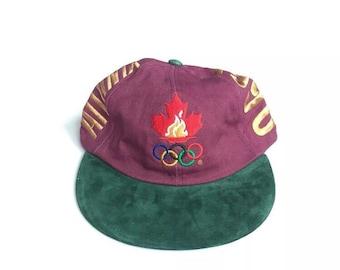 2f0ee02019d Vintage 90s NEW Atlanta 1996 olympics strapback promo snapback hat twill  embroidered cap streetwear unisex black