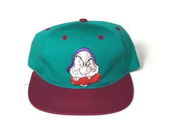 a9838cc1777 Grumpy snow white and the seven dwarfs yourh kids childrens Snapback Snap  back Strapback hat One Size Adult Unisex twill