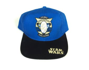 fc935cb1977 Vintage star wars star fighter Snapback hat Adjustable one Size Fits all  OSFA strap back hat Cap deadstock New with tag all embroidered stit