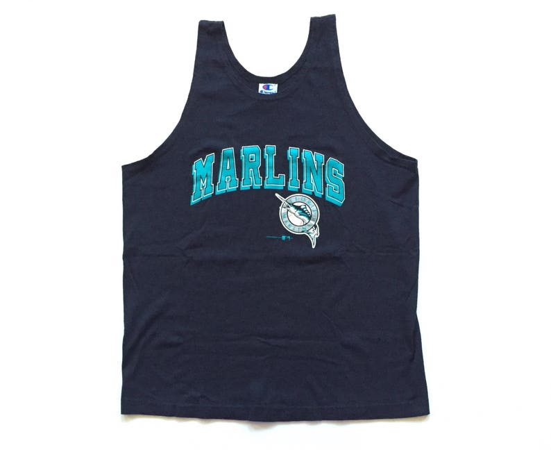 competitive price bf865 5adac florida marlins champion tank top mlb baseball throwback jersey 100% cotton  champion jersey size large 90s vintage