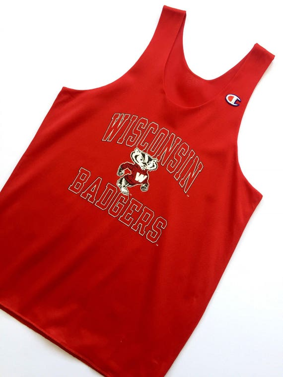 new style 3de92 ab725 90s CHAMPION retro Wisconsin Badgers NCAA basketball jersey tank top size  small unisex adult perforated top