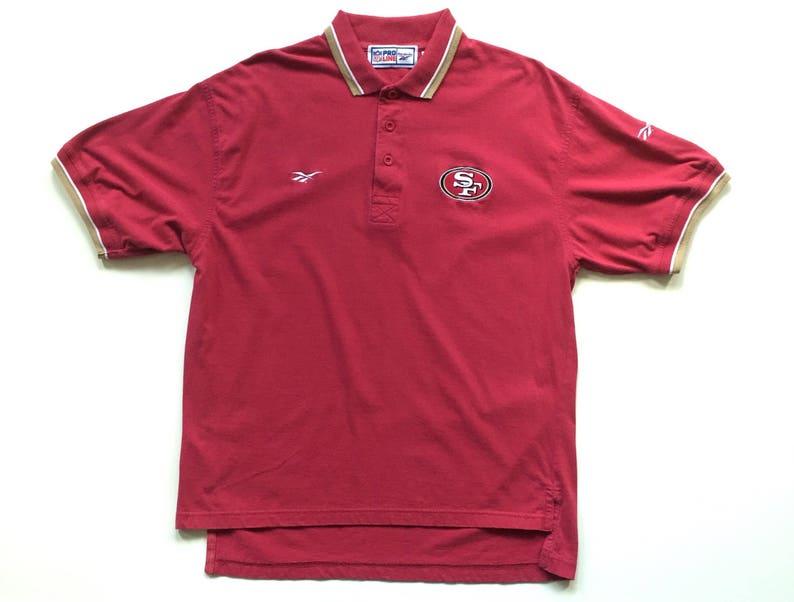 2ddde728 90s REEBOK San Francisco 49ers nfl football button up polo shirt size  Medium vintage nfl pro line