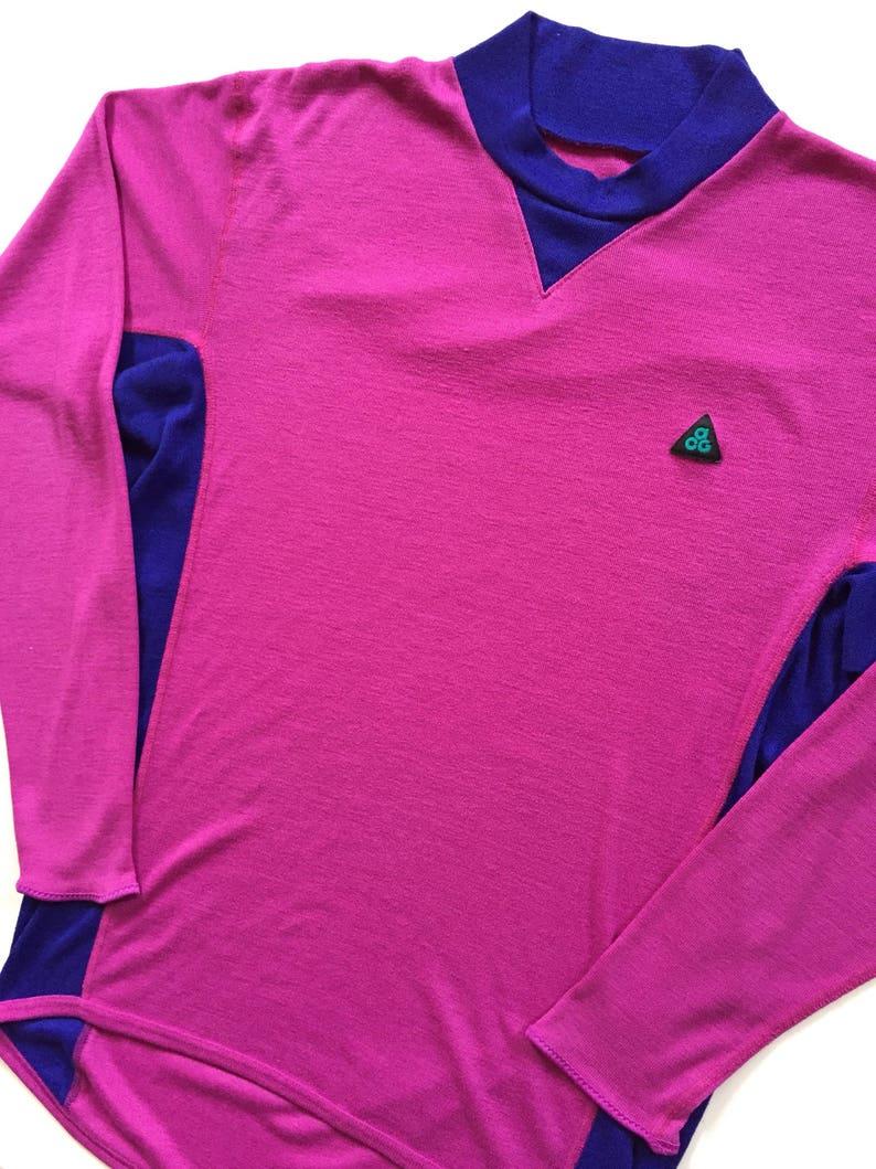 da0594169c019 Vintage Nike ACG women's Long Sleeve sweatshirt 1980's size XL extra large  pink and purple vibrant colours Thin Long Sleeve