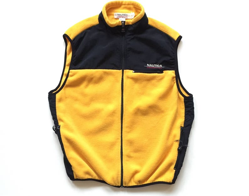 3938467d9 Vintage nautica competition fleece vest size xl made in usa polyester  yellow black nautica spell out full zip vest