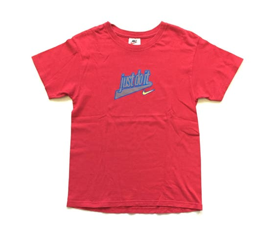632fa488b5a73 90s nike shirt vintage nike just do it nike swoosh t shirt raised spell out  made in usa vtg tee size large L cotton red