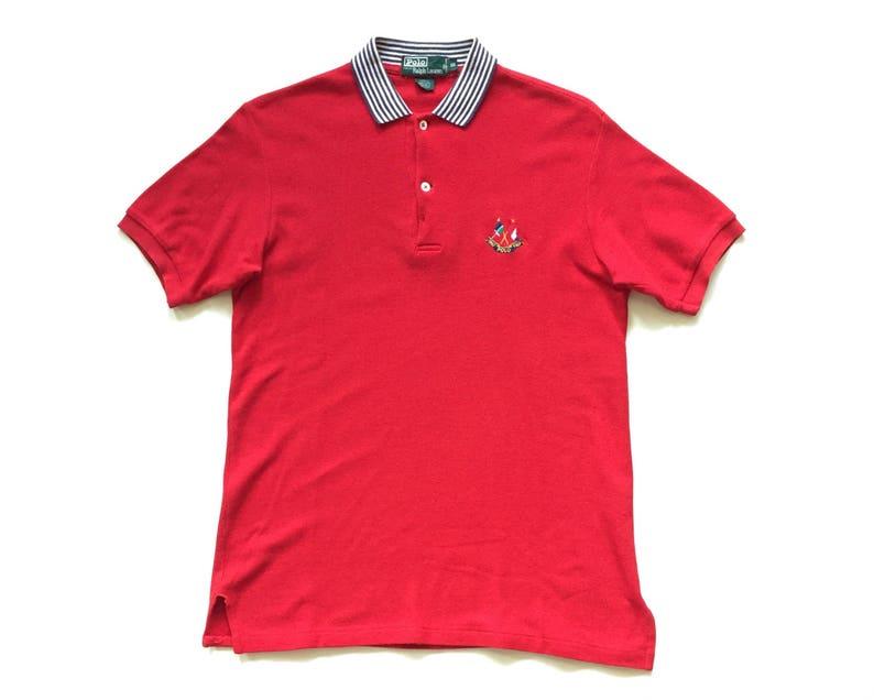 5317cbb3830 Ralph Lauren Polo flag crest 1987 anniversary long sleeve | Etsy