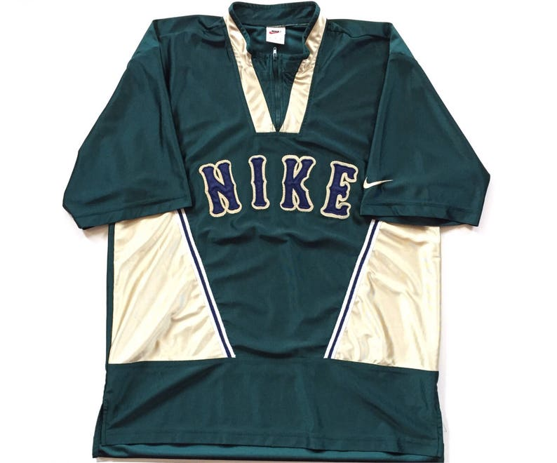 36bf2fc5fc546 Vintage Nike jersey 80s 90s grey tag nike t shirt green gold