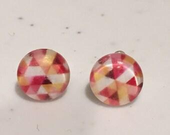 10 MM rose et jaune géométrique boucles d'oreilles