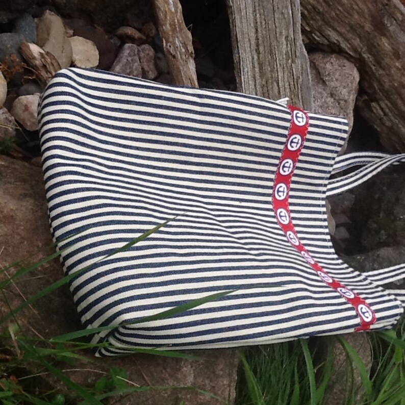Nautical stripe denim bag purse tote anchor accent button closure lined zip pocket red white and blue sturdy repurposed materials