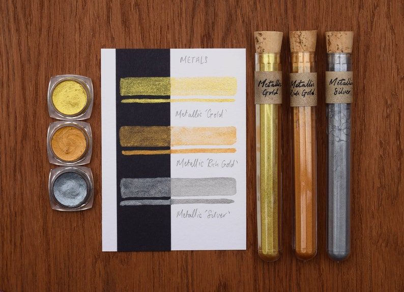 METALS Set of 3 Metallic Watercolour Paint Pots Golds and Silver