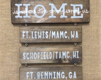 Home is where the (army, navy, marines, air force, coast guard) sends us // stained, military wooden sign