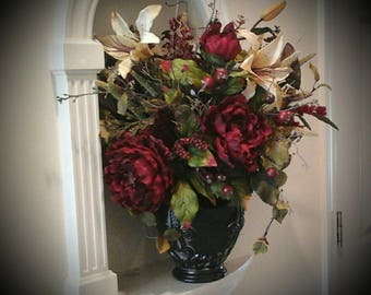 Floral arrangement xl floral centerpiece large formal silk etsy floral arrangement floral centerpiece shipping included elegant winter tuscan large silk floral valentine table foyer centerpiece mightylinksfo