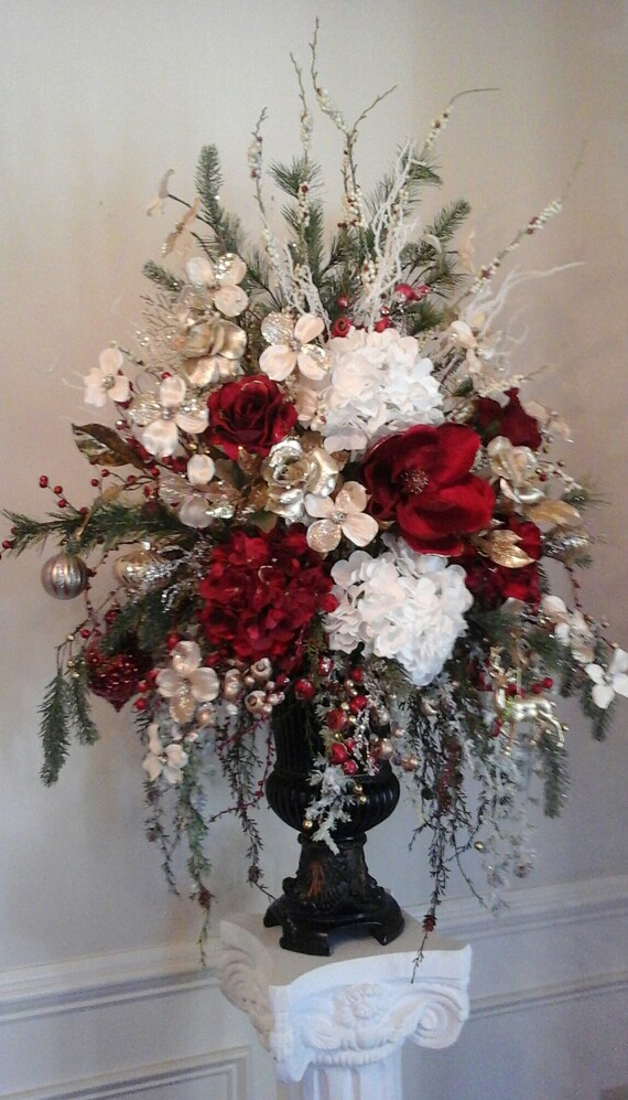Christmas Flower Arrangements Artificial.Christmas Floral Arrangement Holiday Silk Floral Centerpiece Shipping Included Elegant Foyer Dining Table Fireplace Mantel Decor