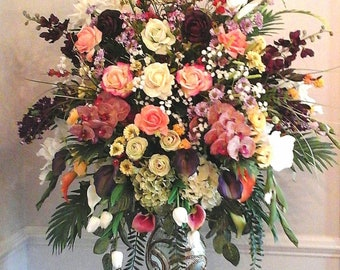 Floral Arrangement, XL Floral Centerpiece, Elegant Tall Tropical Luxury Real Touch Flower Arrangement SHIPPING INCLUDED, Foyer Table décor