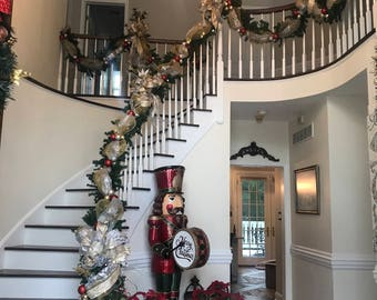 Christmas Garland Swag, Luxury Lighted Staircase Holiday Decor, SHIPPING  INCLUDED Elegant Gold Silver Holiday Garlands