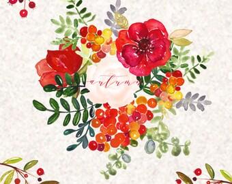 wreaths lotus watercolor clip art hand drawn wedding light etsy