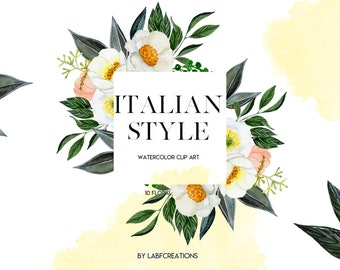 Spring Floral Frames. Watercolor clip art.  Oranges and lemons.  White flowers. Italian style collection.