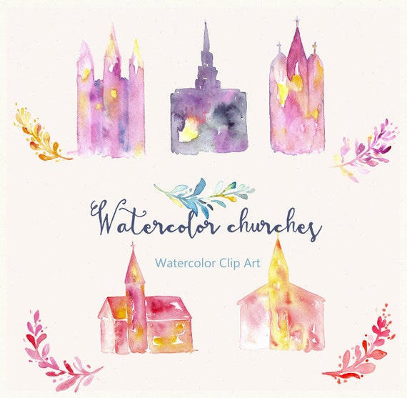 church and temple watercolor clip art hand drawn church and etsy