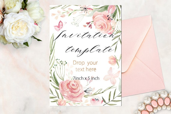Watercolor Flowers Invitations Template Soft Pink Roses Etsy