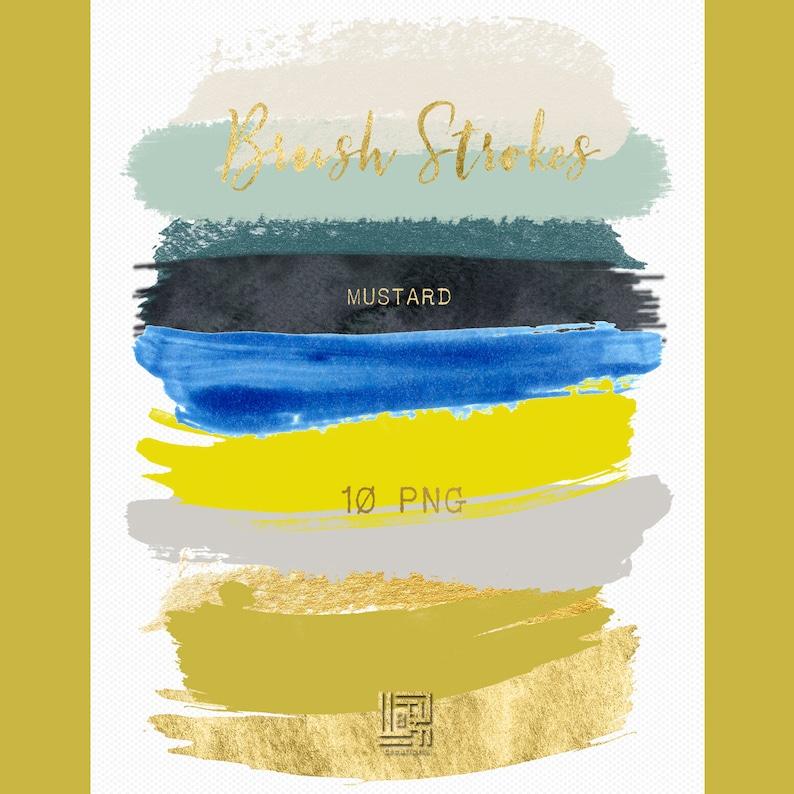 Brush Strokes Clip Art Mustard Mustard Yellow Blue Aqua Deep Blue Gold Palette Watercolor Clipart Digital Design Resource