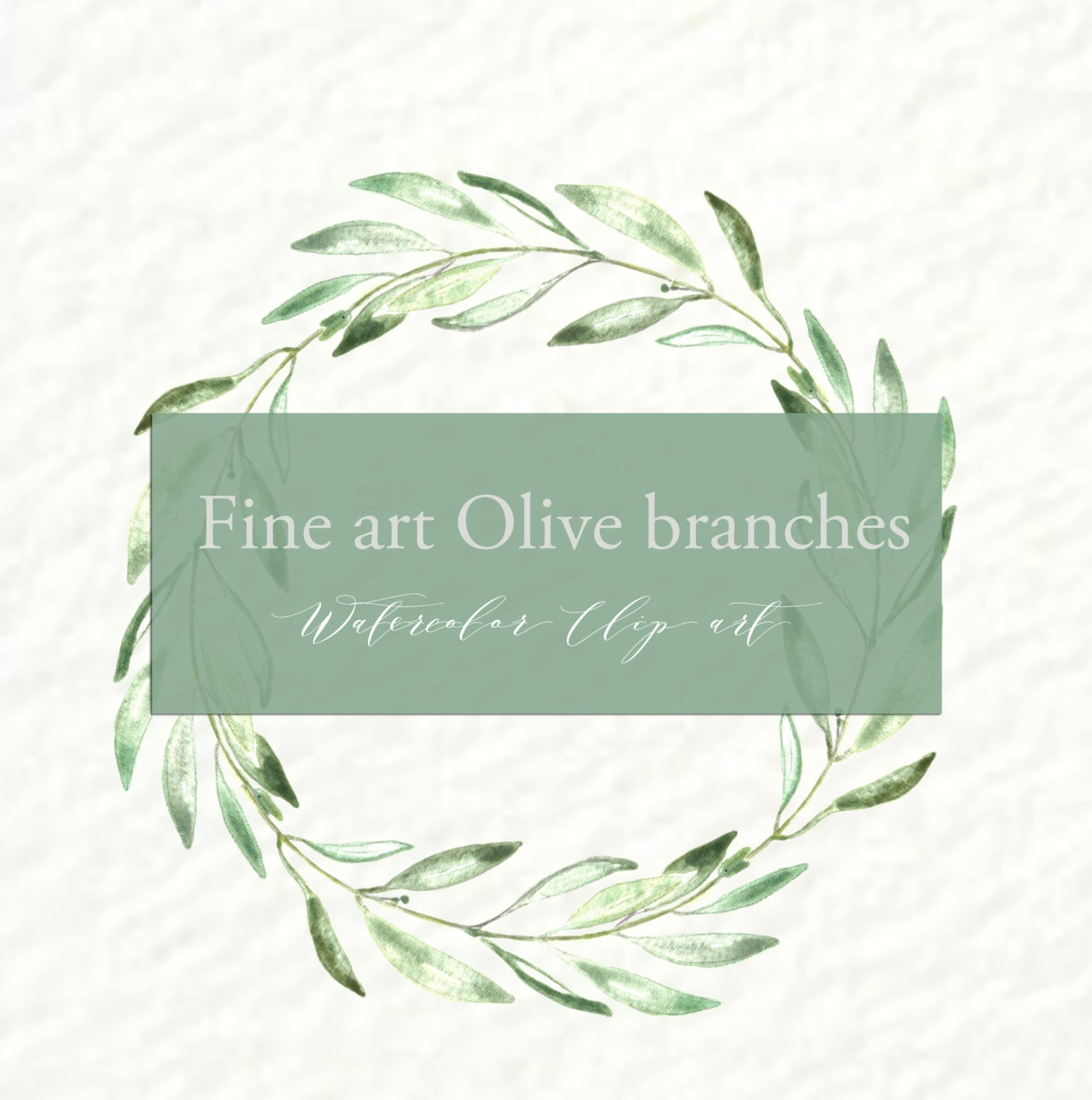 Olives branches watercolor clipart hand drawn. Romantic wedding ...