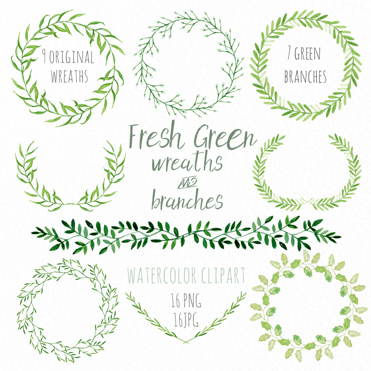 Fresh Green Wreaths And Branches. Watercolor Clip Art Hand