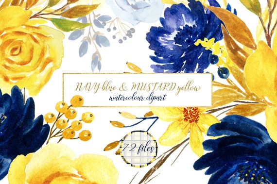Navy blue mustard yellow flowers watercolor clipart blog etsy image 0 mightylinksfo