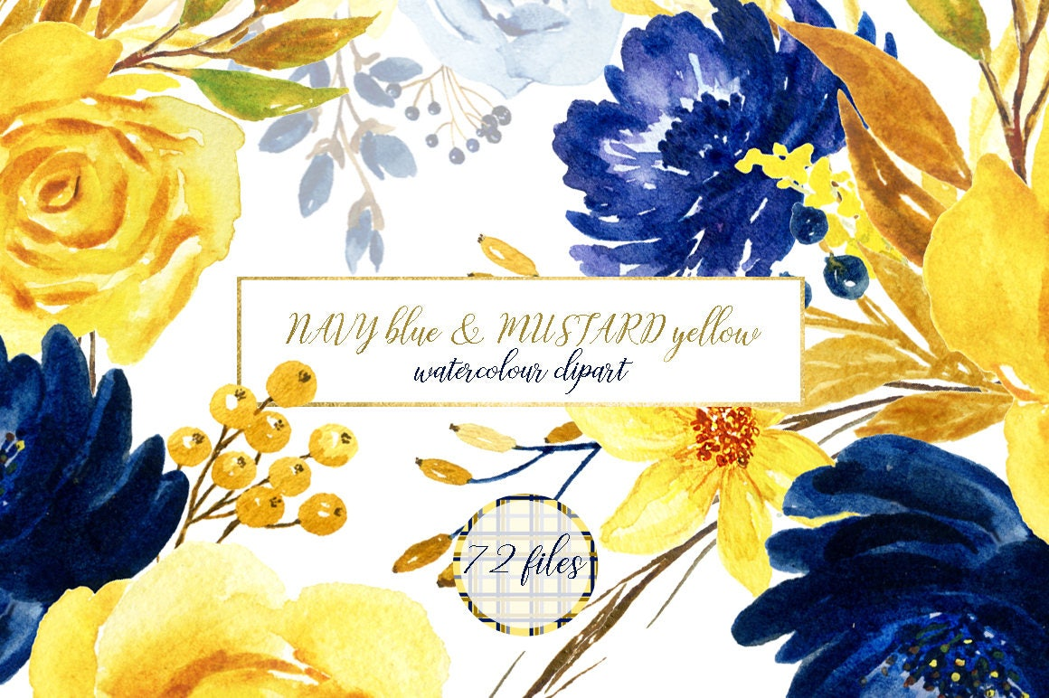 Navy Blue Mustard Yellow Flowers Watercolor Clipart Blog Etsy