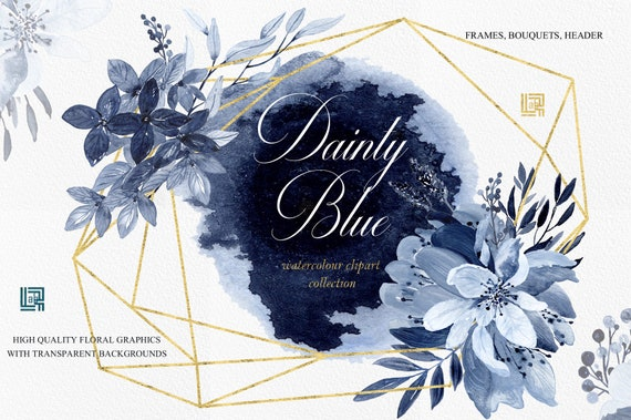 Dainty Blue Navy Blue Watercolor Flowers And Branches Frames Arrangements Header Hand Drawn Clipart Wedding Blue And Deep Blue