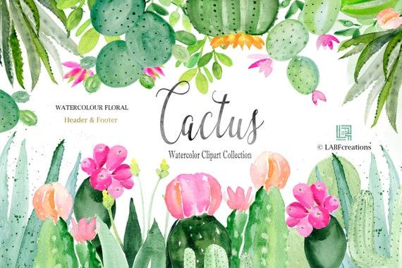 Kaktus Aquarell Clipart von Hand gefertigt. HEADER FOOTER.   Etsy
