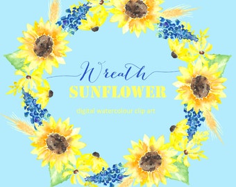 Sunflower Digital Watercolor clip art hand drawn. Wreath Tournesol. Romantic wedding, bright, jaune flowers, invitations, watercolour flower