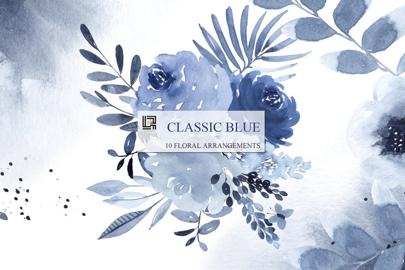 Hand drawn watercolor clipart ARRANGEMENTS Navy blue watercolor flowers and branches Wedding blue and deep blue. Classic blue