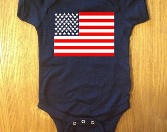 b2cf152b37 Cute American Flag Patriotic Baby One Piece Bodysuit Creeper Jumper Romper  Boy Girl Unisex Neutral Gift 4th July OakTees. (Red White vinyl)