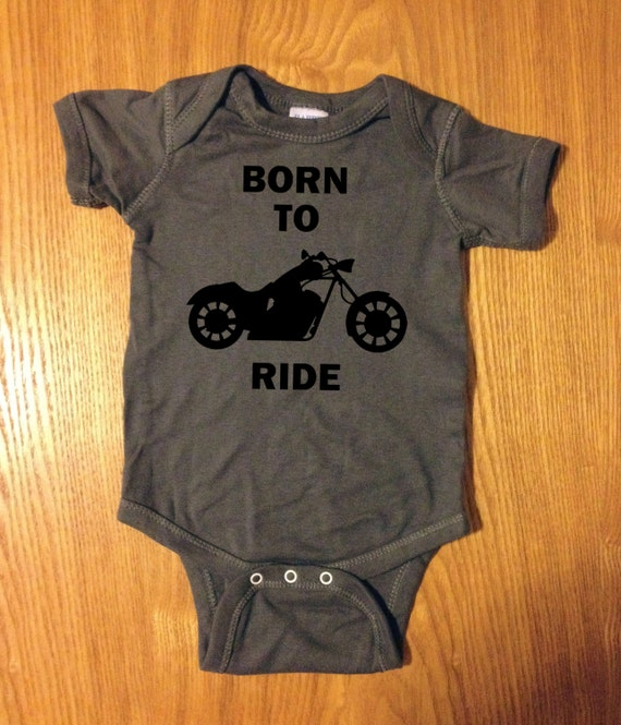 Son of A Biker Baby Long Sleeve Bodysuit Born To Ride Motorcycle Skull